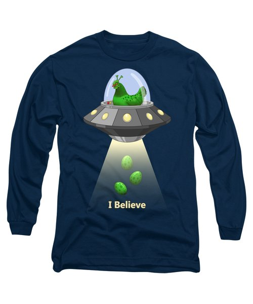 I Believe In Green Chicken Aliens Long Sleeve T-Shirt