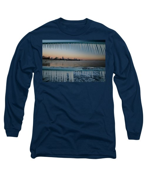 Icicles And Chicago Skyline Long Sleeve T-Shirt