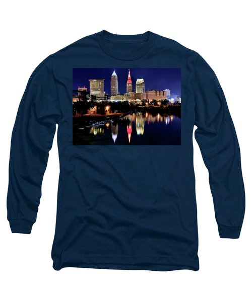 Iconic Night View Of Cleveland Long Sleeve T-Shirt