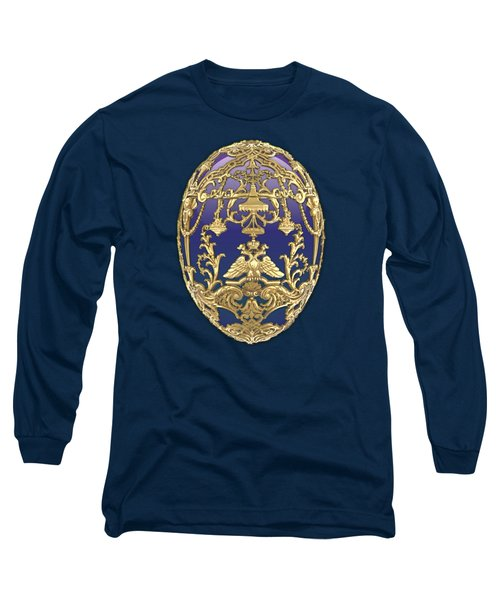 Imperial Faberge Eggs - Tsarevich Egg On Blue Velvet Long Sleeve T-Shirt