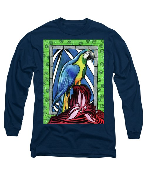 Long Sleeve T-Shirt featuring the painting In Love With A Macaw by Dora Hathazi Mendes
