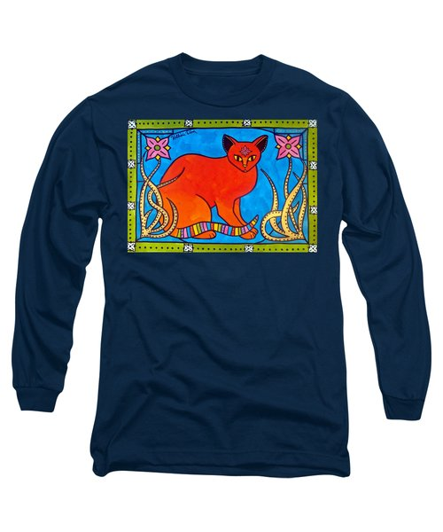 Indian Cat With Lilies Long Sleeve T-Shirt by Dora Hathazi Mendes