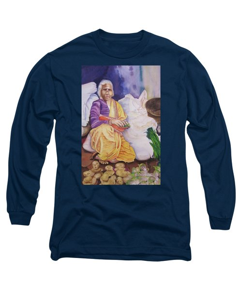 Indian Woman At Market IIi Long Sleeve T-Shirt by Teresa Beyer