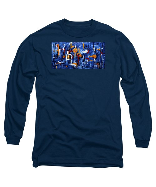 Long Sleeve T-Shirt featuring the painting Industrial Abstract by Arturas Slapsys
