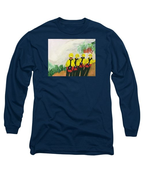 Long Sleeve T-Shirt featuring the painting Initial Attack by Erika Chamberlin