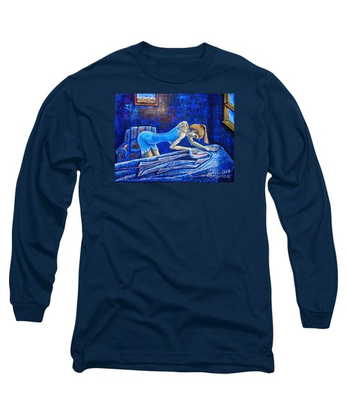 Long Sleeve T-Shirt featuring the painting Ironing by Viktor Lazarev