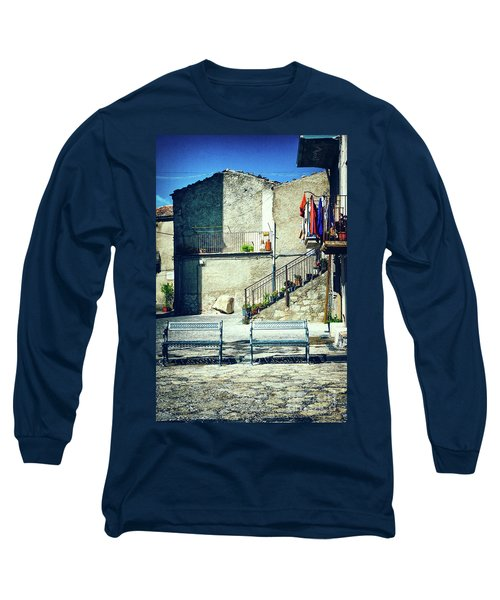 Long Sleeve T-Shirt featuring the photograph Italian Square With Benches by Silvia Ganora