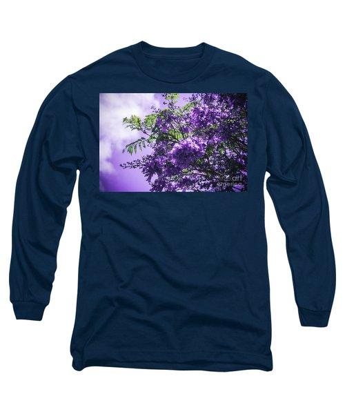 Long Sleeve T-Shirt featuring the photograph Jacaranda Mimosifolia Kula Maui Hawaii by Sharon Mau