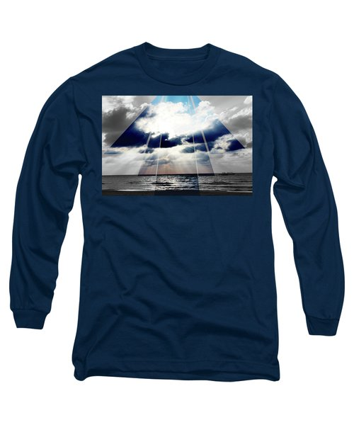 Jamaica Sunset Art Deco Bw With Color Long Sleeve T-Shirt