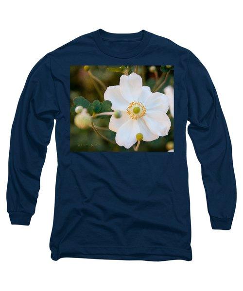 Japanese Anemone Long Sleeve T-Shirt by Terri Harper