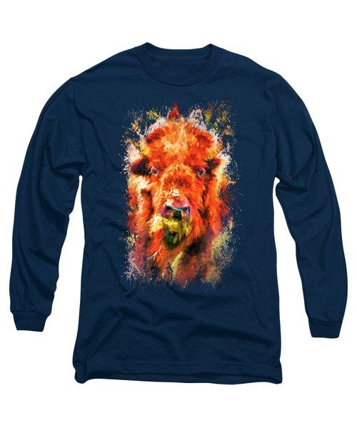 Jazzy Buffalo Colorful Animal Art By Jai Johnson Long Sleeve T-Shirt by Jai Johnson