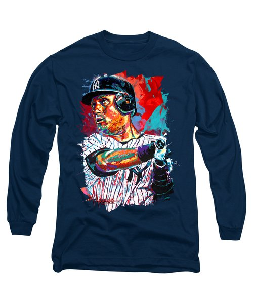 Jeter At Bat Long Sleeve T-Shirt by Maria Arango