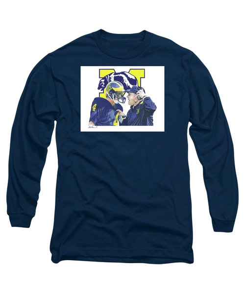 Jim Harbaugh And Bo Schembechler Long Sleeve T-Shirt by Chris Brown