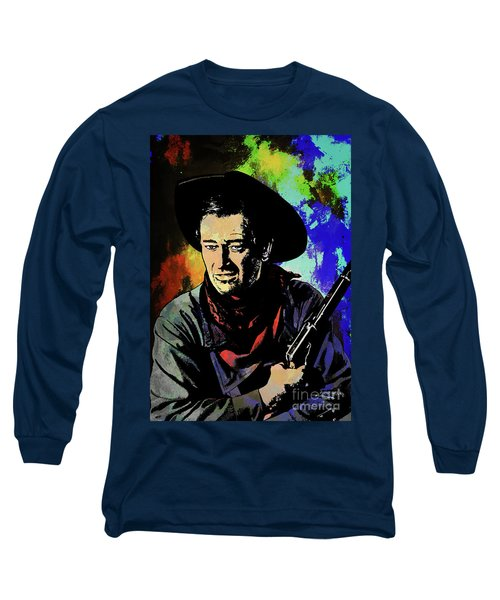 Long Sleeve T-Shirt featuring the painting John Wayne, by Andrzej Szczerski
