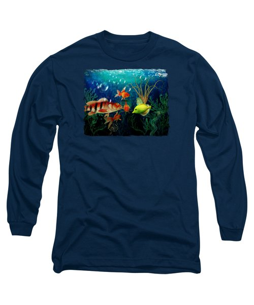 Joy To The Fishes  Long Sleeve T-Shirt by Terry Fleckney
