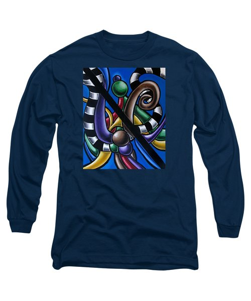 Colorful 3d Abstract Art Painting - Multicolored Original Artwork - Black And White Stripes Long Sleeve T-Shirt