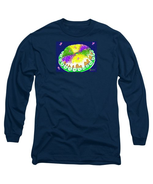 Long Sleeve T-Shirt featuring the digital art King Cake by Jean Pacheco Ravinski