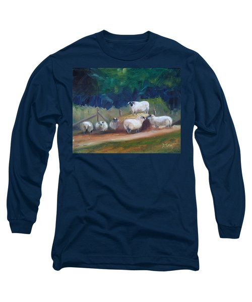 Long Sleeve T-Shirt featuring the painting King Of Green Hill Farm by Donna Tuten