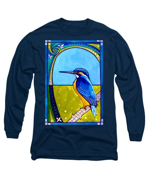 Kingfisher Long Sleeve T-Shirt by Dora Hathazi Mendes