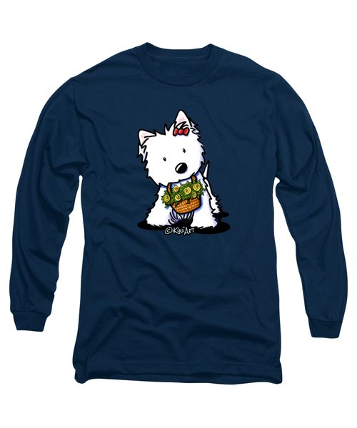 Kiniart Flower Basket Westie Long Sleeve T-Shirt