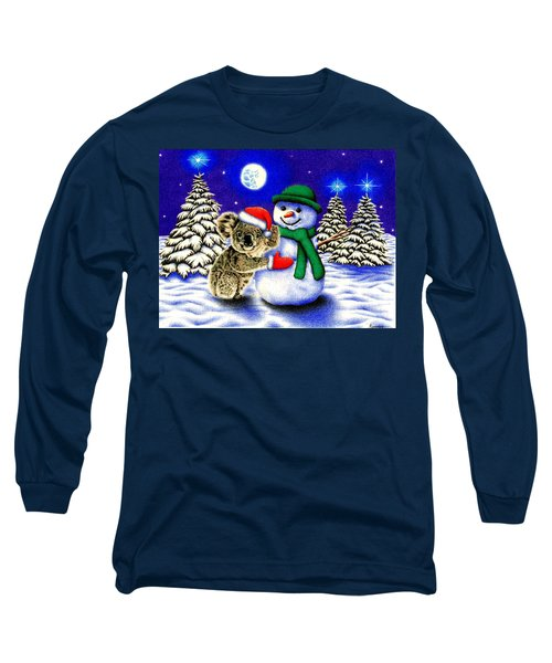 Koala With Snowman Long Sleeve T-Shirt by Remrov