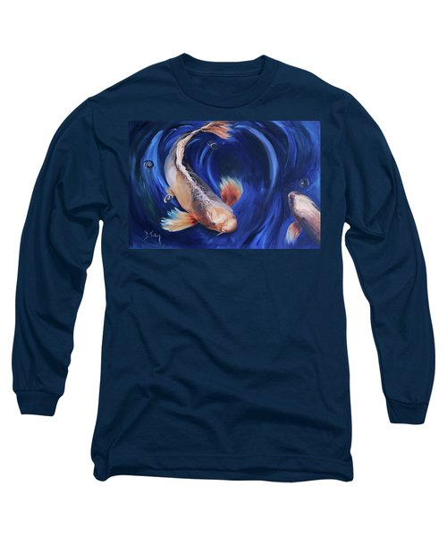 Long Sleeve T-Shirt featuring the painting Koi by Donna Tuten