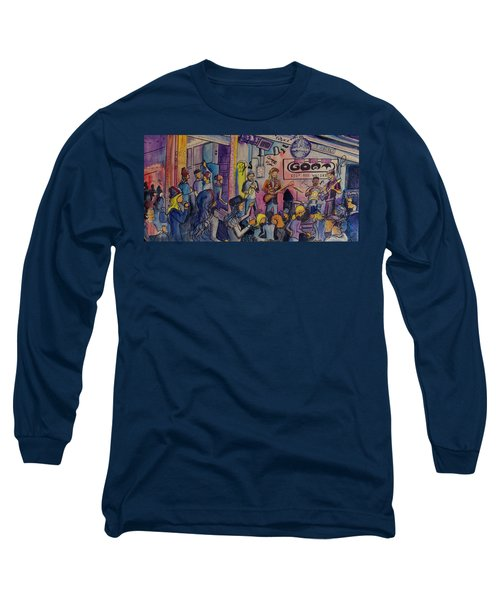 Long Sleeve T-Shirt featuring the painting Kris Lager Band At The Goat by David Sockrider