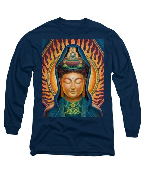 Long Sleeve T-Shirt featuring the painting Kuan Yin Flame by Sue Halstenberg