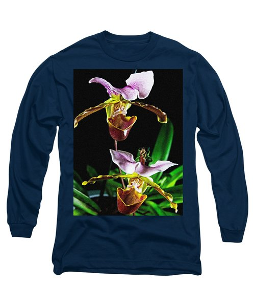 Lady Slipper Orchid Long Sleeve T-Shirt by Elf Evans