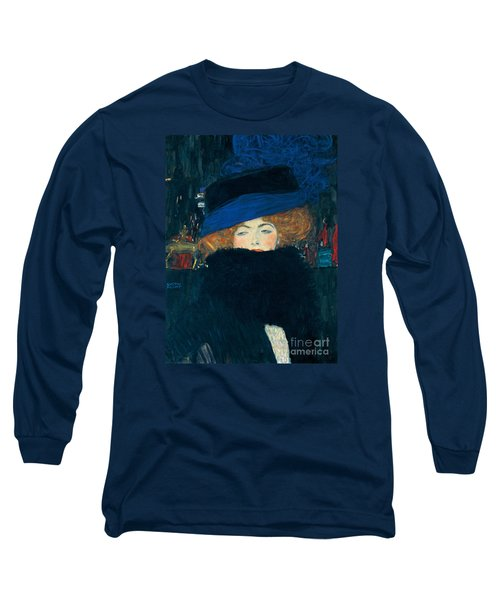 Lady With A Hat And A Feather Boa Long Sleeve T-Shirt by Gustav Klimt
