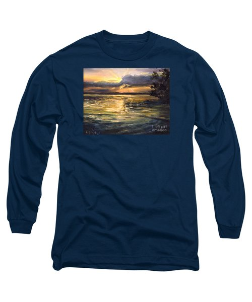 Long Sleeve T-Shirt featuring the painting Lake by Arturas Slapsys