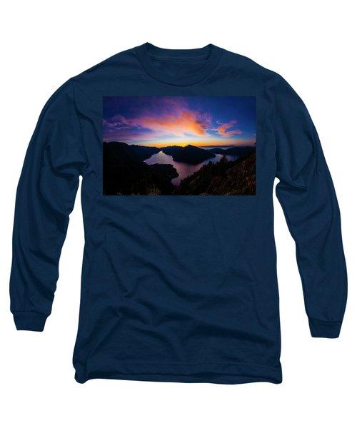 Lake Crescent Sunset Long Sleeve T-Shirt by Pelo Blanco Photo