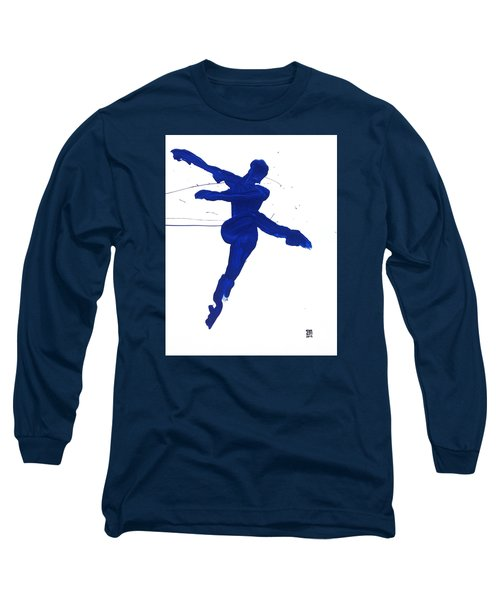 Long Sleeve T-Shirt featuring the painting Leap Brush Blue 1 by Shungaboy X