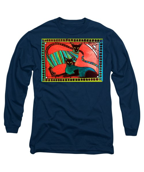 Legend Of The Siamese - Cat Art By Dora Hathazi Mendes Long Sleeve T-Shirt by Dora Hathazi Mendes