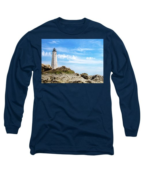 Long Sleeve T-Shirt featuring the photograph Lighthouse And Rocks by Dawn Romine