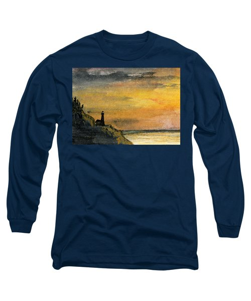 Lighthouse Oversees Coast Long Sleeve T-Shirt by R Kyllo