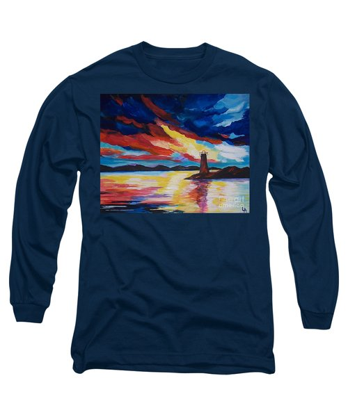 Long Sleeve T-Shirt featuring the painting Lighthouse Storm by Leslie Allen