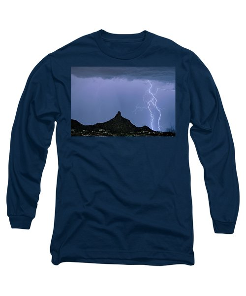 Long Sleeve T-Shirt featuring the photograph Lightning Bolts And Pinnacle Peak North Scottsdale Arizona by James BO Insogna