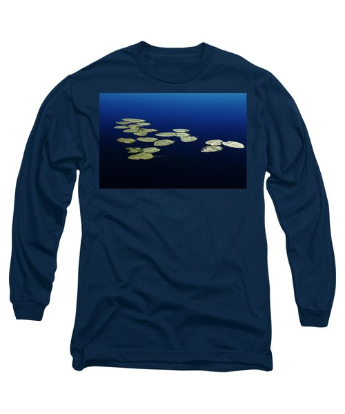 Long Sleeve T-Shirt featuring the photograph Lily Pads Floating On River by Debbie Oppermann