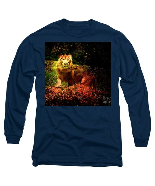 Long Sleeve T-Shirt featuring the photograph Lion In The Wilderness by Annie Zeno