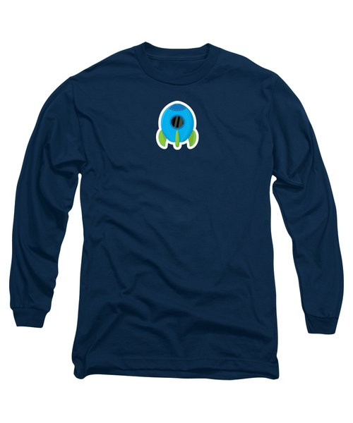 Little Blue Rocket Ship Long Sleeve T-Shirt by Nathan Poland