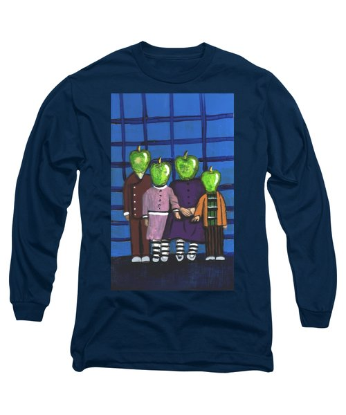 Little Green Apple Head Kids Long Sleeve T-Shirt