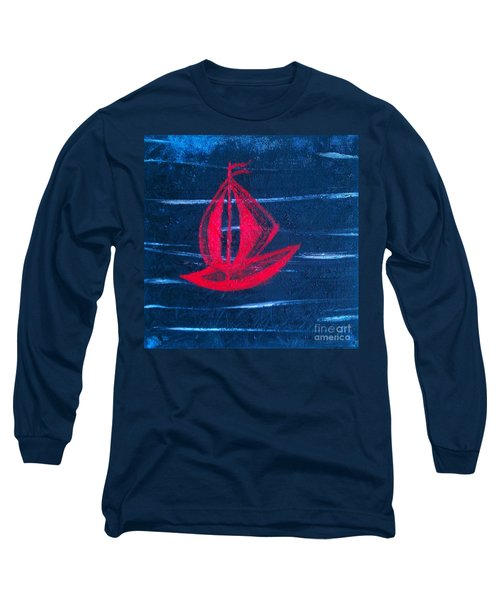 Long Sleeve T-Shirt featuring the painting Little Red Boat  by Jacqueline McReynolds