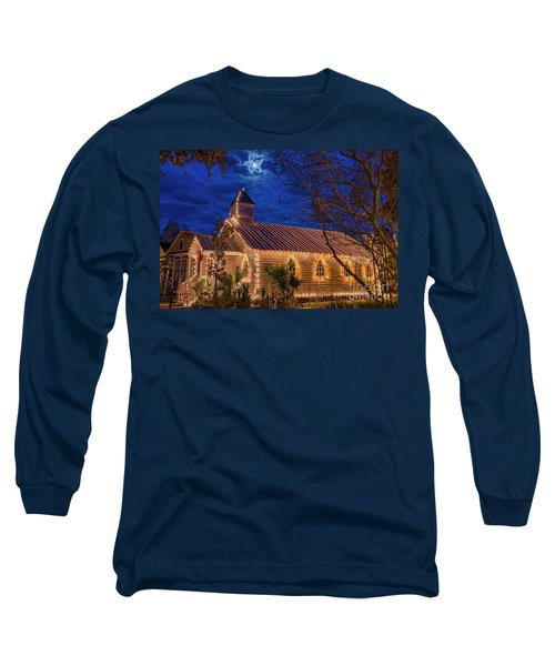 Little Village Church With Star From Heaven Above The Steeple Long Sleeve T-Shirt by Bonnie Barry
