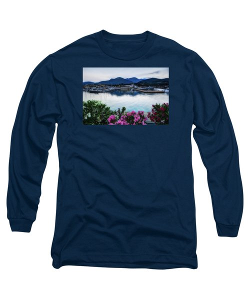 Loano Sunset Over Sea And Mountains With Flowers Long Sleeve T-Shirt