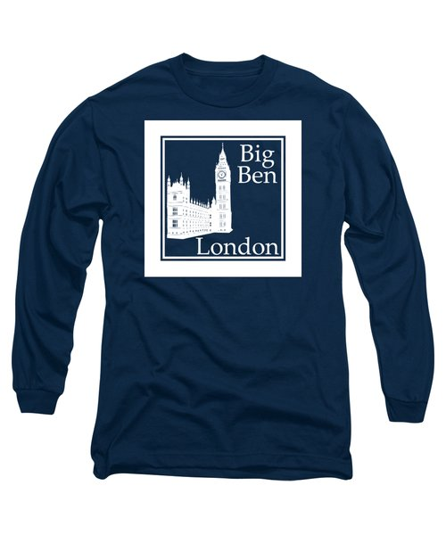 London's Big Ben In White - Inverse  Long Sleeve T-Shirt by Custom Home Fashions