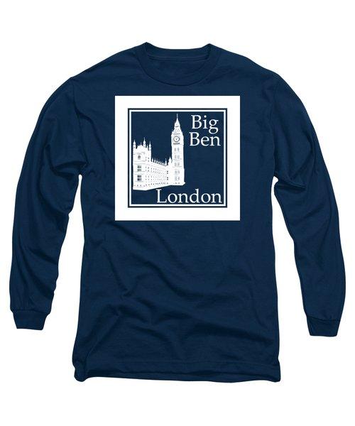 London's Big Ben In White - Inverse  Long Sleeve T-Shirt