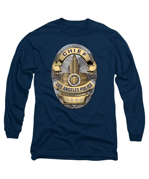 Los Angeles Police Department  -  L A P D  Chief Badge Over Blue Velvet Long Sleeve T-Shirt by Serge Averbukh