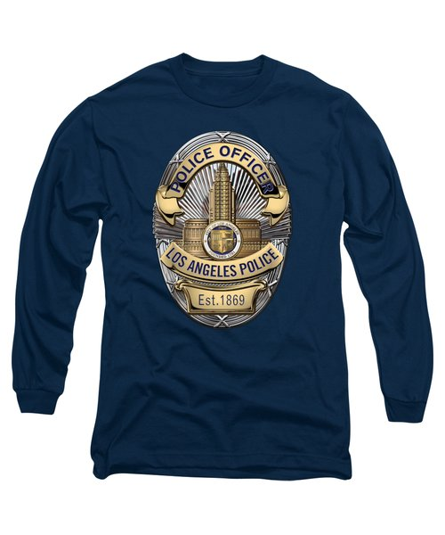 Los Angeles Police Department  -  L A P D  Police Officer Badge Over Blue Velvet Long Sleeve T-Shirt by Serge Averbukh