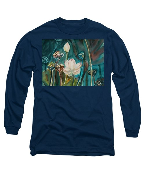 Long Sleeve T-Shirt featuring the painting Lotus Study I by Xueling Zou